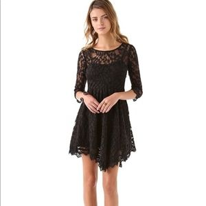 Free People 3/4 Sleeve  Black Lace Dress Size 2